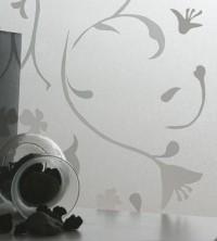 Adhäsionsfolie, transparent matt mit weißen Blumen (geprägt)