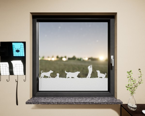Glasdekor für Fenster, Hunde