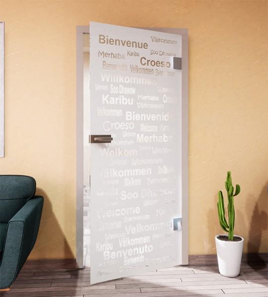 Glasdekor für Türen, Hallo aus aller Welt