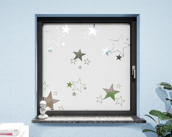 Glasdekor Sterne weiß matt