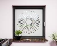 Glasdekor für Fenster, Sonne im Kreisdesign