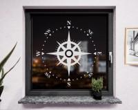 Fenstertattoo Kompass weiß matt