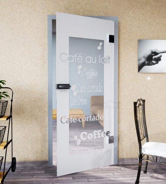 Glasdekor für Türen, Kaffeegenuss