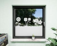 Glasdekor für Fenster, Blumenwiese