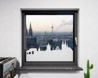 Glasdekor für Fenster, Skyline Köln