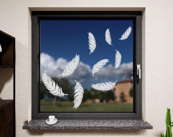 Fenstertattoo Federn weiß  matt