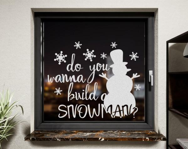 Fenstertattoo Schneemann weiß matt