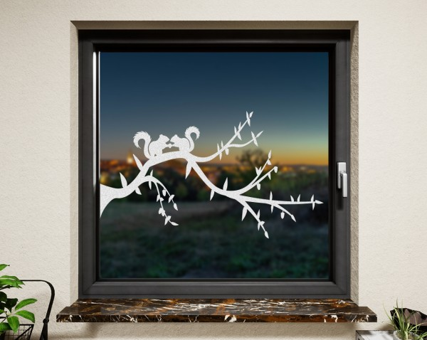 Fenstertattoo Eichhörnchen weiß matt