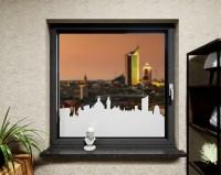 Glasdekor für Fenster, Skyline Leipzig