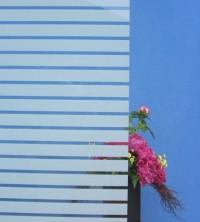 Dekorfolie, horizontale transparent-weiße Streifen, Breite 35 mm