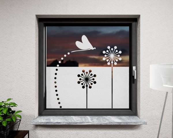 Glasdekor für Fenster, Pusteblume modern