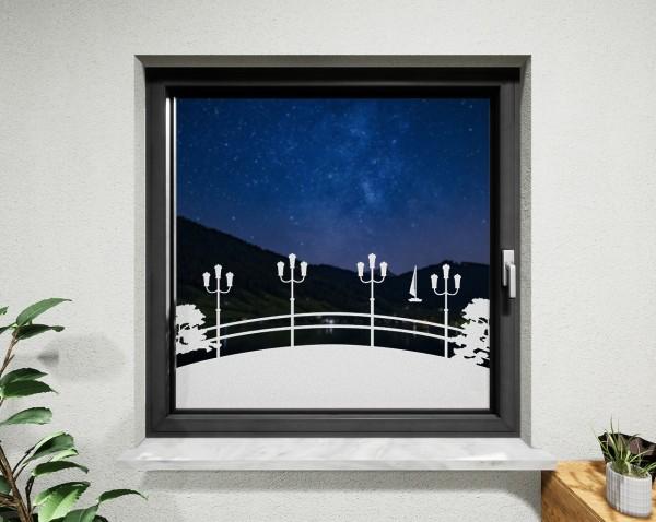 Glasdekor für Fenster, Flussbrücke