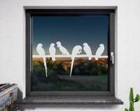 Fenstertattoo Vögel weiß matt