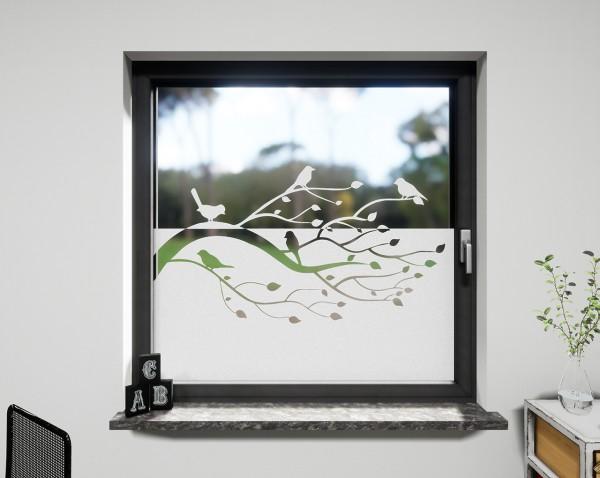 Glasdekor für Fenster, Baum und Vögel