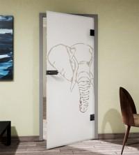Glasdekor für Türen, Elefant