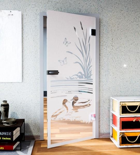 Glasdekor für Türen, Entenpaar