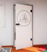 Glasdekor für Türen, Segelschiff