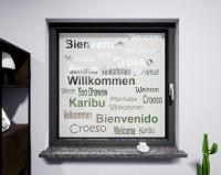 Glasdekor für Fenster, Schriftzug Willkommen
