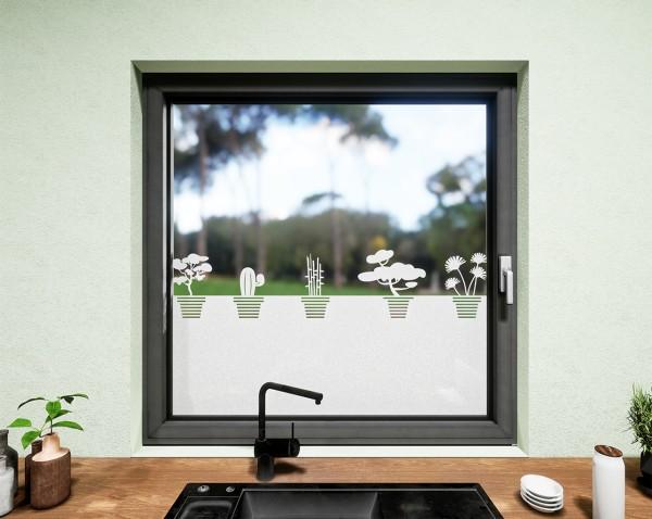 Glasdekor für Fenster, Topfpflanzen
