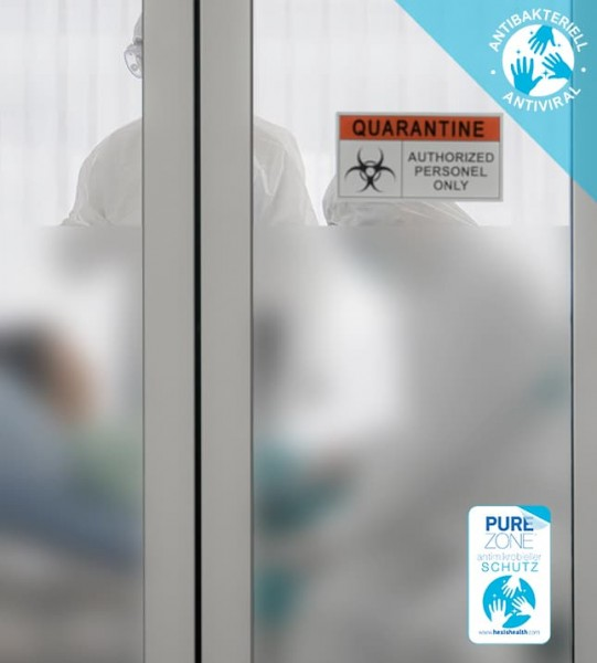 Antibakterielle Folie, Hexis PUREZONE®, Ätzglasdesign weiß matt
