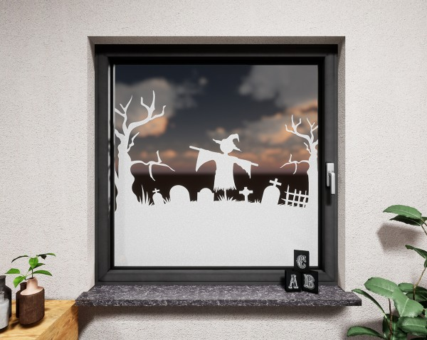Glasdekor für Fenster, Vogelscheuche