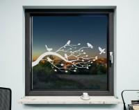 Fenstertattoo, Baum und Vögel