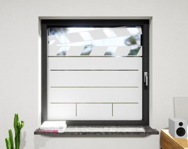 Glasdekor für Fenster, Filmklappe