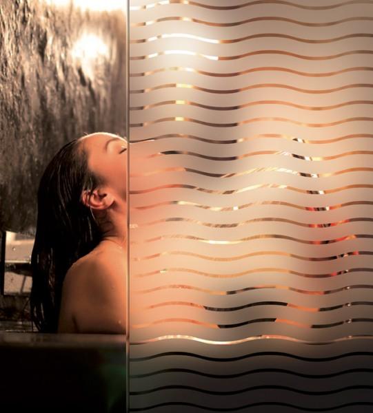 Dekorfolie, transparent- weiße Wellen, Breite 45 mm