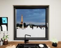 Glasdekor für Fenster, Skyline Paris